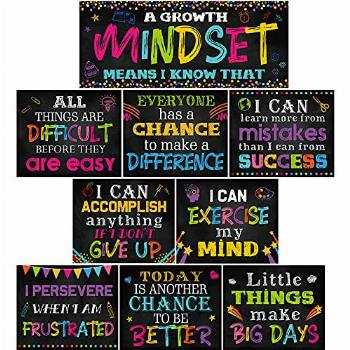 10 Pieces Classroom Motivational Posters Growth Mindset