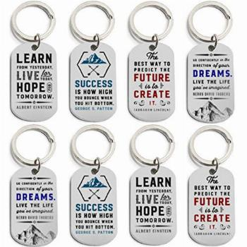 (12-Pack) Motivational Keychains with Inspirational Quotes -