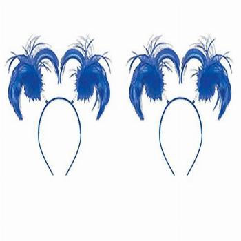 2 Pack of Feathers and Ponytails Headband Costume Party