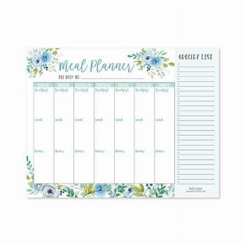 Teal Floral Weekly Meal Planning Calendar Grocery Shopping
